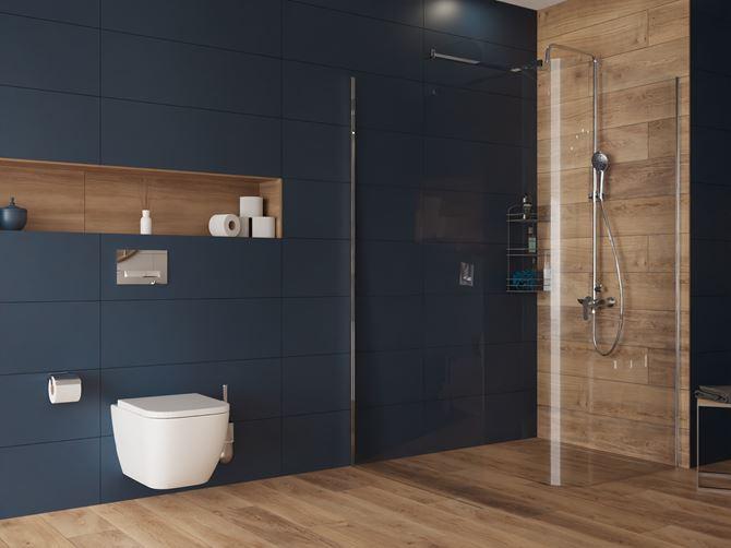Drewno z połączeniem koloru granatowego w nowoczesnej łazience