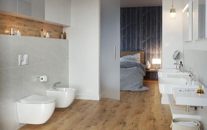 Nowoczesna łazienka przy sypialani