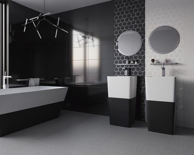 Czarno-biała łazienka Paradyż Grace