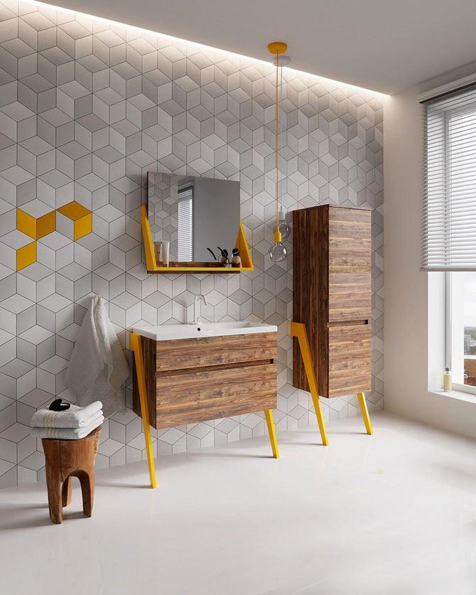 Geometryczna ściana z drewnianymi meblami Defra Op-Arty