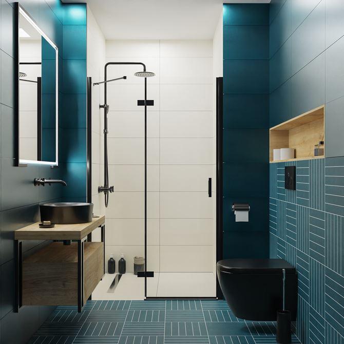 Biało-niebieska łazienka w kaflach Tubądzin My Tones