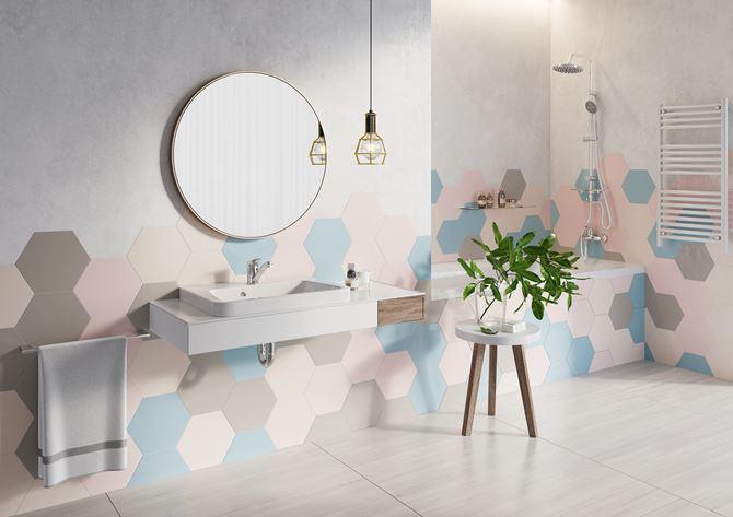 Pastelowe płytki w aranżacji łazienki