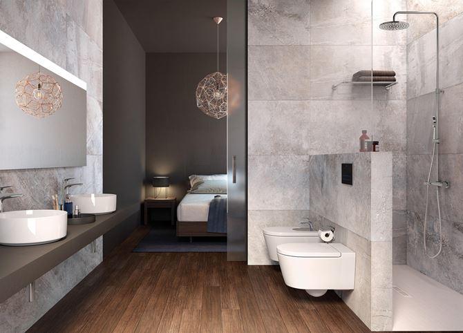 Elegancka łazienka przy sypialni