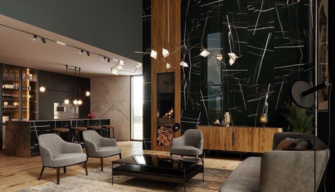 Przestronny salon z kuchnią w stylu glamour