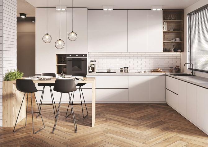 Biała skandynawska kuchnia z jasnym drewnem