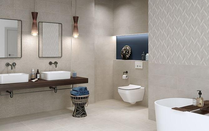 Szara łazienka z mozaikową ścianą Cersanit Manzila