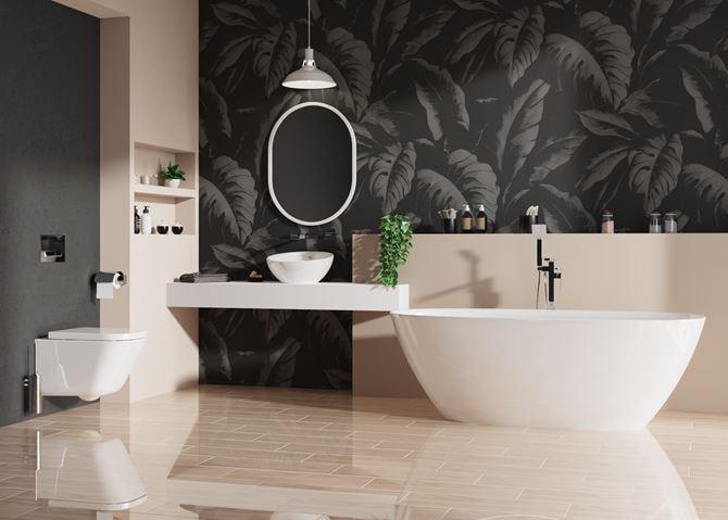 Czarno-beżowa łazienka z wolnostojącą wanną
