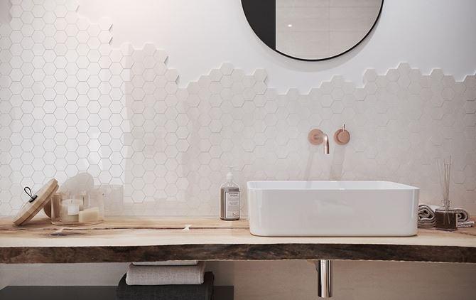 Strefa umywalkowa z heksagonami Cersanit Bantu
