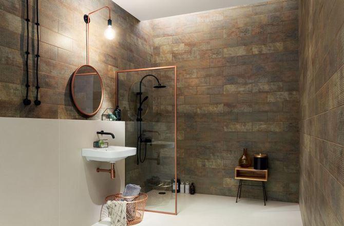 Łazienka z miedzianymi ścianami Tubądzin Brave