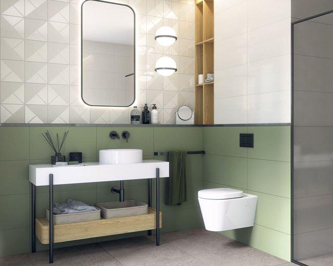 Nowoczesna, biało-zielona łazienka w strukturze