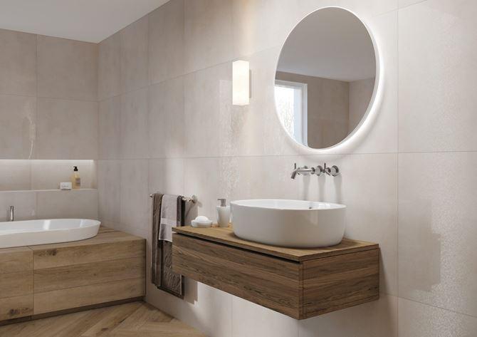 Piękna łazienka w połyskujących beżach