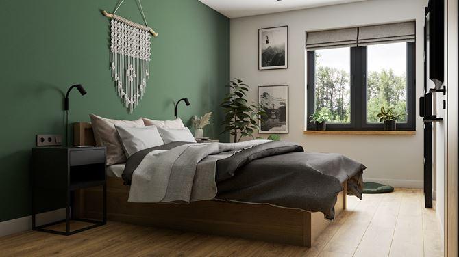 Sypialnia z drewnem i zieloną ścianą