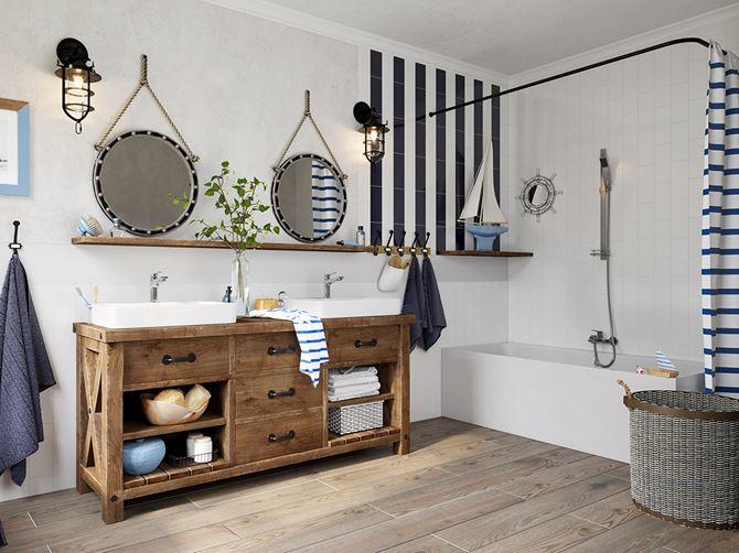 Aranżacja rodzinnej łazienki w stylu vintage