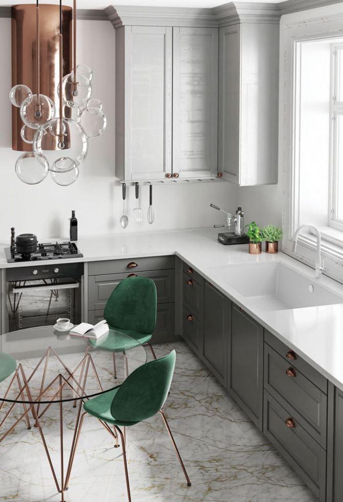 Marmurowa kuchnia w bieli i szarości