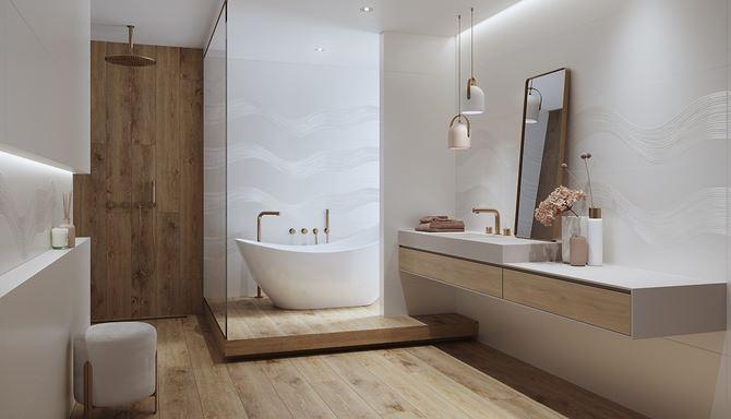 Skandynawska łazienka z falistą strukturą płytek