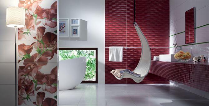 Aranżacja łazienki z kwiatowym akcentem- Tubądzin Colour Carmine