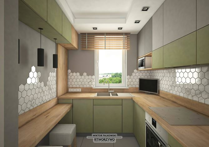 Szaro-zielona zabudowa kuchenna