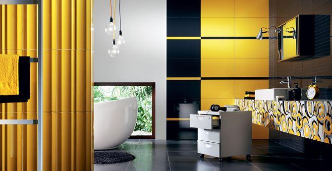 Aranżacja w odcieniach żółci i czerni Tubądzin Colour Yellow