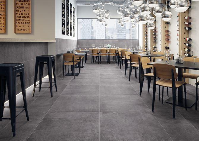 Podłoga restauracyjna wyłożona płytakmi Cerrad Montego
