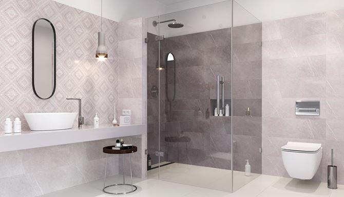 Marmurowa łazienka w odcieniach szarości