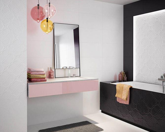 Czarno-biała łazienka z kolorowymi detalami Paradyż Esten