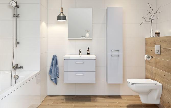 Łazienka w stylu skandynawskim z jasnymi meblami