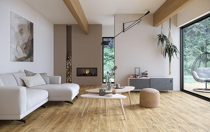 Przytulny salon z kominkiem w stylu skandynawskim