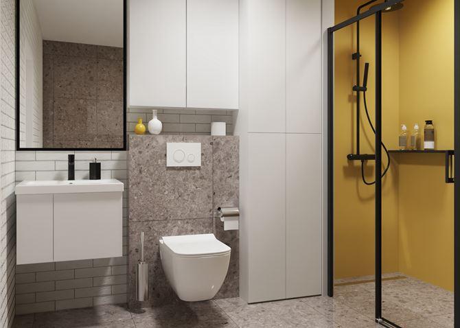 Aranżacja nowoczesnej łazienki z kamieniem i żółtą ścianą