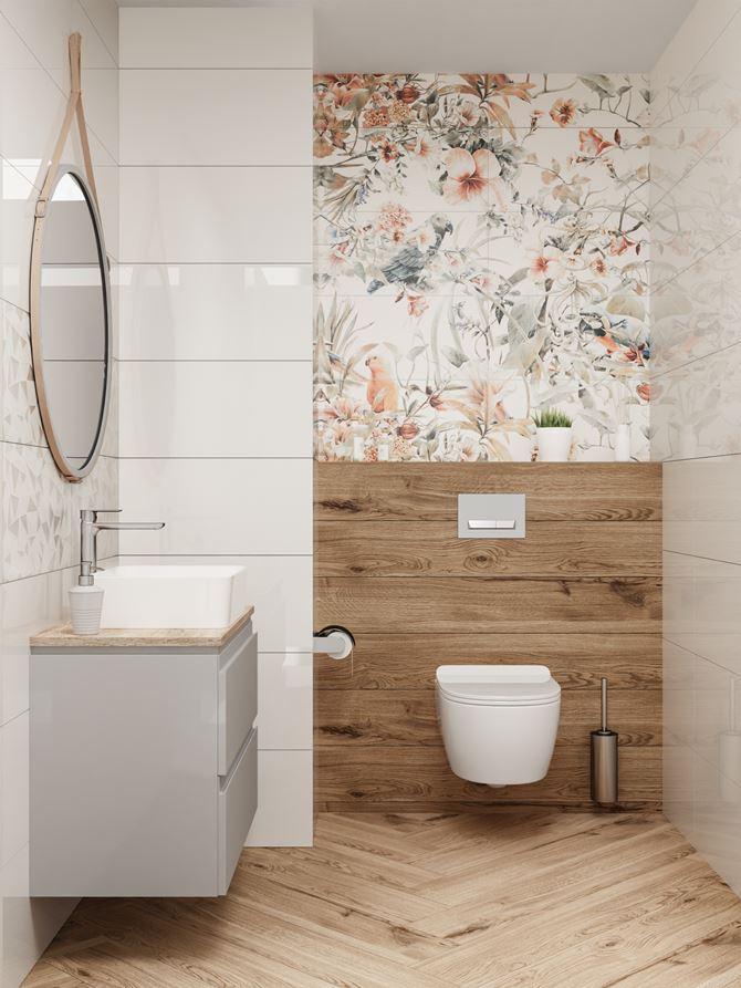 Stylowa toaleta z dekoracyjną ścianą
