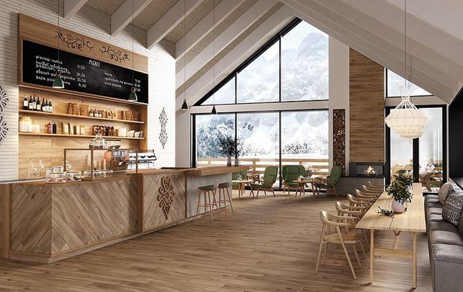 Aranżacja kawiarni w stylu alpejskim