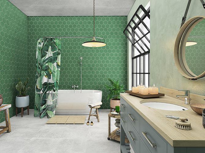 Aranżacja zielonej łazienki z wanną wolnostojącą