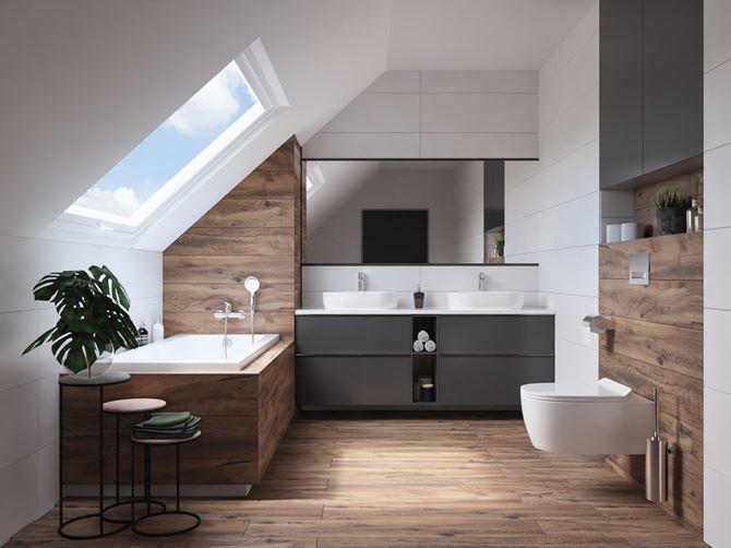 Łazienka na poddaszu wykończona kolorem drewna