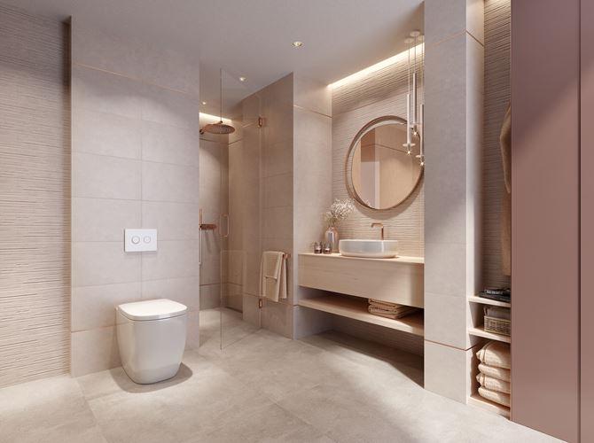 Beżowa łazienka z ceramiką stojącą