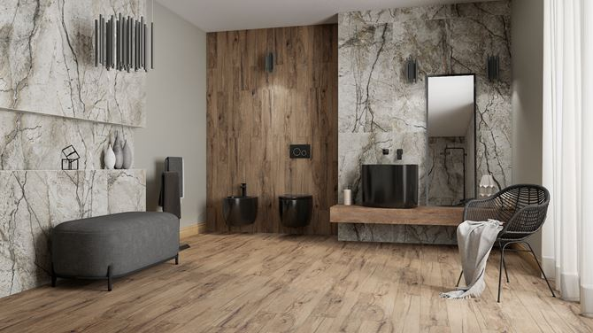 Łazienka glamour w marmurze i drewnie z czarną ceramiką