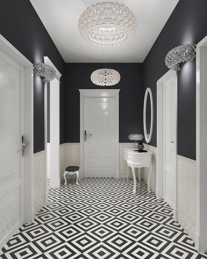 Czarno-biały przedpokój z geometryczną płytką