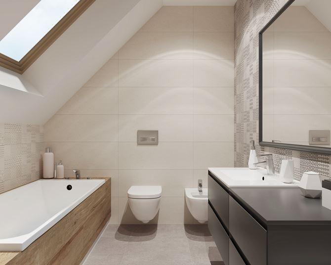 Stonowana łazienka pod skosami