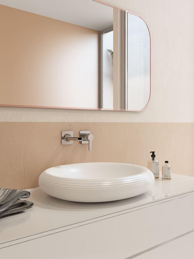 Biała umywalka nablatowa Strata Bocchi