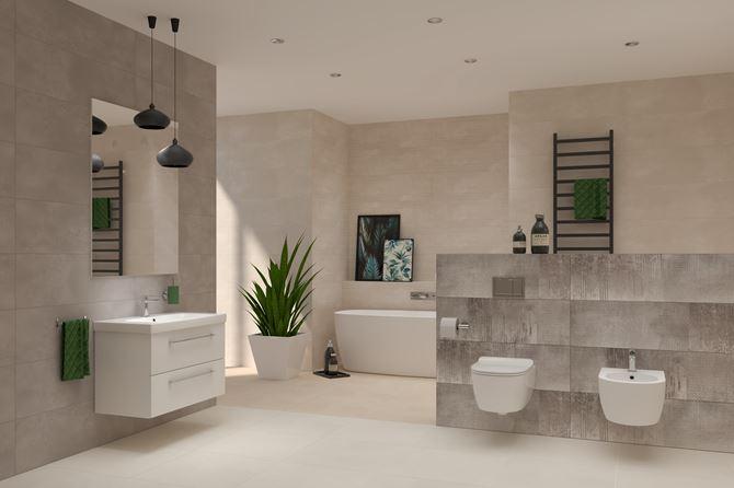 Kremowy salon kąpielowy w kolekcji Neutro