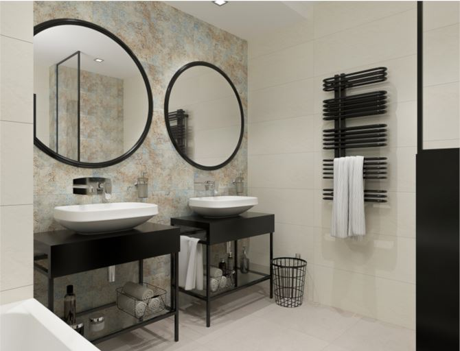 Nowoczesna łazienka z industrialną nutą w kolekcji Tubądzin Interval