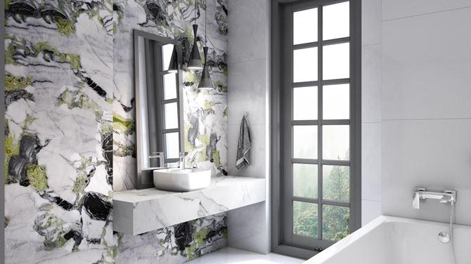 Strefa umywalkowa i dekoracyjna ściana