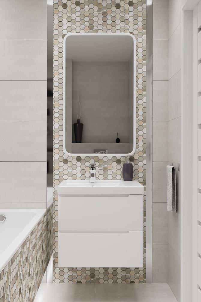 Strefa umywalkowa w otoczeniu mozaiki