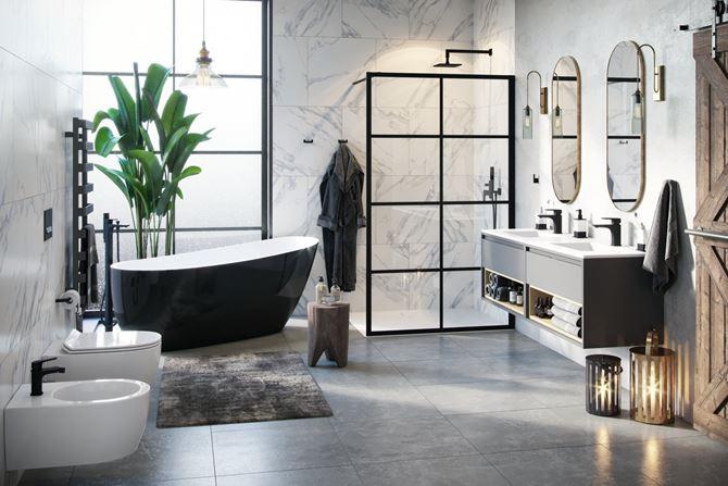Aranżacja czarno-białej łazienki w marmurowym wykończeniu