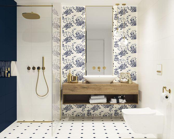 Nowoczesna biała łazienka z niebieskimi i złotymi akcentami