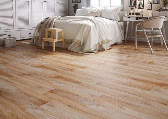 Beżowe drewno w sypialni - Cerrad Mattina