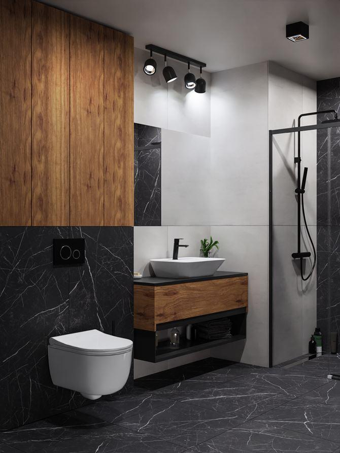 Czarny kamień z dodatkiem szarości i drewna w nowoczesnej łazience