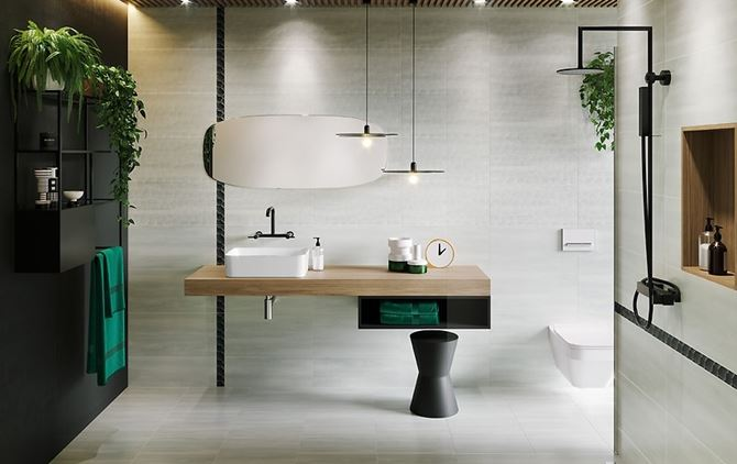 Nowoczesna łazienka w betonowych płytkach Cersanit Mystic Cemento