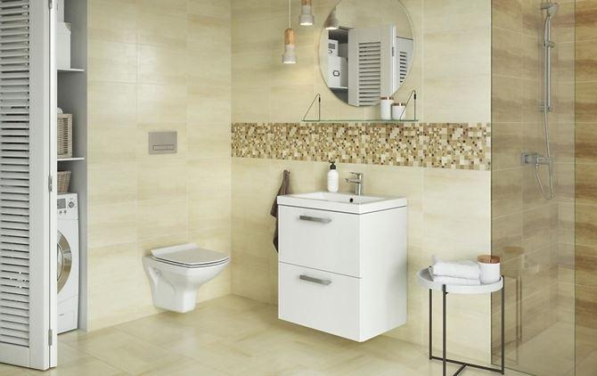 Beżowa łazienka z geometrycznymi dekorami