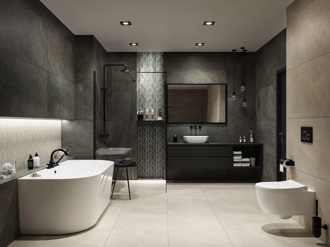Aranżacja dużej łazienki w brązowej kolorystyce