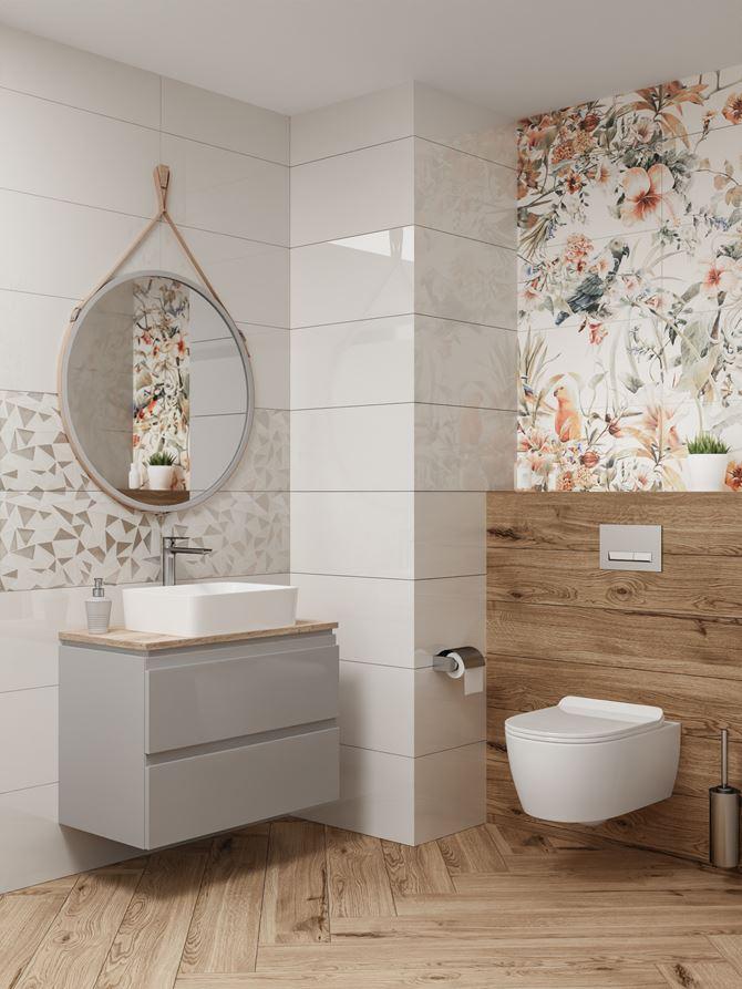 Jasna toaleta w drewnie z obrazem ściennym