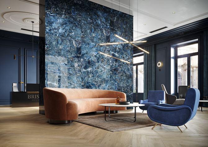 Lobby hotelowe w niebieskim kamieniu